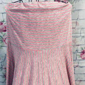 NWT Maurices pink grey stripe strapless dress 👗
